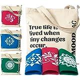 Nehel MoodBag, Zippered Canvas Tote Bag, Pink Blue & Green Covers