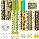Pllieay 15 Pieces Sunflowers Printed Faux Leather Sheet Include 3 Kinds of Leather Fabric with Earring Hooks, Hair Clips for