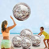 5 Pack Beach Ball Jumbo Pool Toys Balls Giant Confettis Glitters Inflatable Clear Beach Ball Swimming Pool Water Beach Toys O
