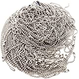 Pack of 50 Ball Chain Necklace, BallchainAge 24 inches Nickel Plated 2.3mm Ball Bead Chain Adjustable Metal Pull Chain Jewelr