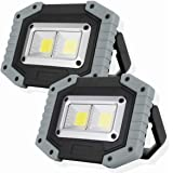 OTYTY COB 30W 1500LM LED Work Light 2 Pack, Rechargeable Portable Waterproof LED Flood Lights Outdoor Camping Hiking Emergenc