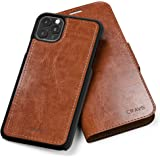 iPhone 11 Pro Max Leather Wallet Case, Crave Vegan Leather Guard Removable Case for Apple iPhone 11 Pro Max - Brown