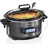 Hamilton Beach Portable 6-Quart Digital Programmable Slow Cooker With Temp Tracking Temperature Probe to Braise, Sous Vide, M