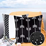 Hlonon Outdoor Waterproof Throw Pillow Covers Set of 2 Decorative Geometric Stripe Square Garden Farmhouse Cushion Cases for