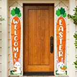 Easter Day Porch Sign, Welcome Decoration Hanging Banner for Front Porch Door Home Indoor Outdoor, Decorated with Easter Bunn