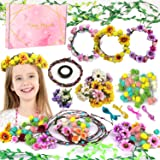 Flower Crowns(146 PCS Parts), Kids Hair Accessories DIY Kit Handmade Arts and Crafts Floral Crown Garland for Girls, Indoor a