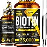 Liquid Biotin & Collagen 25,000mcg, Hair, Skin & Nails. Healthy Hair Growth Support Liquid Drops, Strong Nails, Glowing Skin,