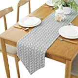 YETOOME Cotton Linen Geometry Checkered Table Runner for Kitchen Dining Living Room, Foyer Table, Summer Parties, Wedding Par