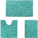 HOMEIDEAS Microfiber Absorbent Bath Rug, Chenille Washable Floor Mat -Non Slip Soft Carpet Turquoise