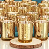 DEVI Gold Votive Candle Holders(24pcs)| Wedding Decorations for Table Centerpieces | Valentines Day Decorations | Anniversary