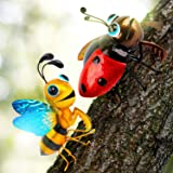 Metal Art for Yard, Set of 2 - Ladybug and Honeybee - Adorable Tree Decor/Wall Sculptures for Indoor and Outdoor Decoration -