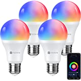 Smart Light Bulb with Soft White Light 2800k-6200k + RGBW, TECKIN A19 E27 WiFi Multicolor LED Bulb Compatible with Phone, Goo