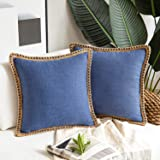 "Phantoscope Decorative Farmhouse Serious Set of 2 Navy Blue Linen Trimmed Throw Pillow Case Cushion Cover 20"" x 20"" 50 x 50 c"
