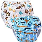 Teamoy 水遊びパンツ 2点セット 0-3歳赤ちゃん用 サイズ調整可能 (飛行機+可愛い笑顔)