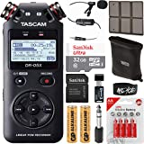 Tascam DR-05X Stereo Handheld Digital Audio Recorder USB Audio Interface Bundle with 32GB Memory Card, Lapel Microphone, AA B