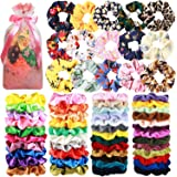 65 Pcs Hair Scrunchies Velvet Hair Scrunchies Silk Scrunchies Chiffon Flower Scrunchies Elastic Hair Ties Ropes Scrunchie for