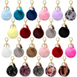 22 Pieces Pom Poms Keychain Fluffy Faux Fur Pompoms Keychains with Tassel Pendants Colorful Pompoms Ball Tassel Keyrings for