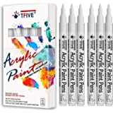 White Marker Paint Pens - 6 Pack Acrylic White Permanent Marker, 0.7mm Extra Fine Tip Paint Pen for Art projects, Drawing, Ro