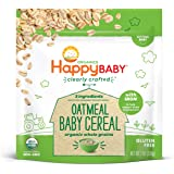 Happy Baby Organics Clearly Crafted Cereal Whole Grain Oatmeal, 7 Ounce Bag Organic Baby Cereal in a Resealable Pouch with Ir