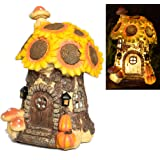 Large Solar Powered Fairy House, Sunflower Toadstool and Pumpkin Style Hand Painted with Automatic Led Illumination