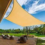 KANAGAWA 12'x16' Sand Shade Sail Rectangle Canopy Durable Fabric UV Block Awning for Outdoor Patio Garden Backyard Activities