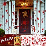 Halloween Bloody Decorations Stickers, 136Pcs Handprint Footprint Bloody Floor Clings, 14 Sheets Vampire Zombie Fake Blood Pa