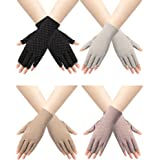 Trounistro 4 Pairs Women Sunblock Fingerless Gloves Non Slip UV Sunscreen Protection Gloves Driving Gloves for Women