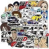 Initial D Stickers 50PCS, Japanese Cartoon Anime Sticker Pack, Vinyl Decals for Laptop, Water Bottle, Car, Skateboard, Guitar