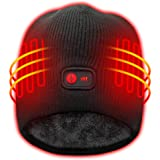 Windproof Heated Hat with Rechargeable Battery,7.4V Men Women Winter Warm Heat Cap Kit,Sports Outdoor Thermal Skull Beanies C