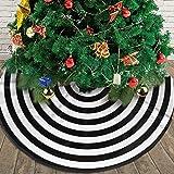 AHOOCUSTOM Merry Christmas Tree Skirt Black White Funny Target 15 Rings Pretender, for Xmas Holiday Party Supplies Large Tree