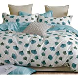 Essina Cotton King Quilt Cover Duvet Cover Doona Cover Set 3pc Valencia Collection 620 Thread Count, Pillow Sham, Vintage Blu
