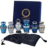 Keepsake Cremation Urns, Blue & White (6pc), Small Funeral Urns for Human Ashes w/Velvet Box, by Fedmax.