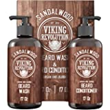Beard Wash & Beard Conditioner Set w/Argan & Jojoba Oils - Softens & Strengthens - Natural Sandalwood Scent - Beard Shampoo w