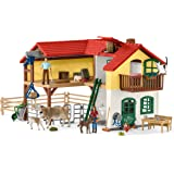 SCHLEICH 42407 Farm World Large Toy Barn and Farm Animals 52-piece Playset for Toddlers and Kids Ages 3-8 19.3 Inch
