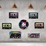 80's Party Supplies, 24 Pieces Cassette Tape Cutouts with 7 Different 80's Style, 1980s Party Decorations 80's Theme Party Ha