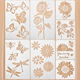 8 Pieces Sunflower Stencils Kit Butterflies Bee Reusable Template You are My Sunshine Stencil Template Plastic Inspirational