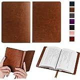 オリジナル高級PUレザー ブックカバー 手帳型 軽量 耐久性 文庫判サイズ カードポケット付き、しおり付き、シンプルなデザイン (ダークブラウン)
