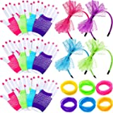 144 Pieces Neon Jelly Bracelets, 12 Pairs Neon Gloves Fingerless Fishnet Wrist Gloves and 4 Pieces 80s Lace Headband for 80s