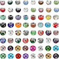 100 Pieces Assorted European Craft Beads Large Hole Glass Craft Beads Mixed Color Rhinestone Charms Beads Crystal Charm Beads