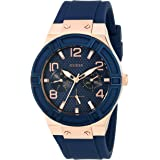 GUESS Women's Rigor Stainless Steel Japanese Quartz Watch with Silicone Strap, Blue, 24 (Model: U0571L1)