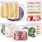 Reusable Storage Bags - 12 Pack EXTRA THICK Freezer bags (2 Reusable Gallon Bags & 6 Reusable Sandwich Bags & 4 Reusable Snac