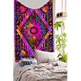 DBLLF Psychedelic Celestial Sun Moon Stars Tapestry Planet Bohemian Tapestry Wall Hanging Boho Tapestry Cotton Indian Wall De
