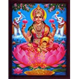 Handicraft Store Lakshmi Showering Money with Pair of Elephants, A Poster Print with Frame for Home and Office Décor Purpose.
