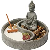 Nature's Mark, Mini Meditation Zen Garden, 7 x 6 Inches Hexagon with Succulent, Figures and Natural River Rocks, Buddha 6 Inc