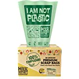 HOLY SCRAP! 100% Compostable Trash Bags, 6-8 Gallon, 30L, 100 Count, Heavy Duty 0.85 Mils, Medium Home Garbage Liners, US BPI