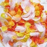 フラワーシャワー 造花 ウェディング 花びら フェザーシャワー 約1000枚 オリジナル【天然フェザー付+ハニーオレンジMIX3色】
