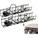 Under Desk Cable Management Tray Cable Organizer for Wire Management. Metal Wire Cable Tray for Office and Home Computer Cabl