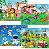 SANNIX Puzzles for Kids Ages 3-8, 60 Pieces Wooden Jigsaw Puzzles Preschool Educational Learning Toys Set for Boys and Girls