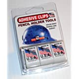 ADHESIVE PENCIL HOLDER CLIP for hard hat toolbox lockers clipboard and more! WHITE 3 PACK