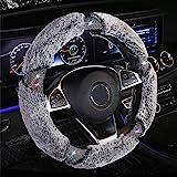 KAFEEK Diamond Short Microfiber Plush Steering Wheel Cover with Bling Bling Crystal Rhinestones for Winter Warm, Universal 15
